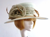 Jo Jo Hats Ascot hat in Pale green with bronze